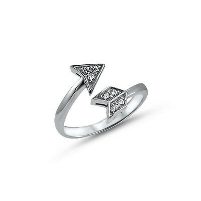925 Sterling Silver Toe Ring Arrow CZ Cubic Zirconia Jewelry Adjustable