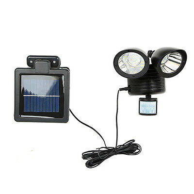 Solar Power Motion Sensor light 22 LED Dual Head Outdoor Security Floodlight BLK