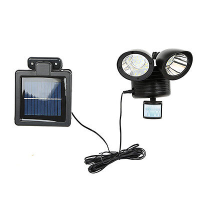 Motion Sensor Light Dual Head Security Floodlight 22 LED Outdoor Solar Powered