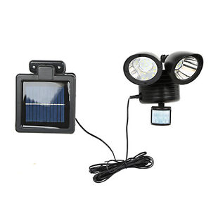 Solar Power Motion Sensor Light 22 Led Dual Head Security Floodlight Outdoor Blk