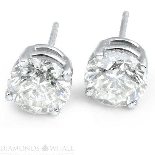 2 Ct Round Cut, Vs1/d Enhanced Diamond Stud Wedding Earrings 18k White Gold Dm