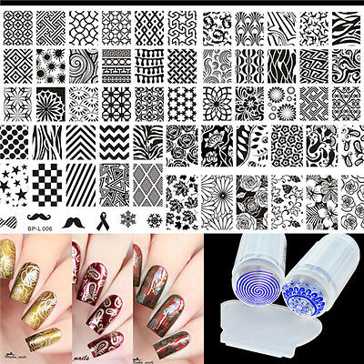 Multi-patterns Nail Art Stamping Plates Kit with Clear Stamper Set Born Pretty for sale  Shipping to Canada