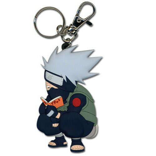 Naruto Chibi SD Kakashi Reading Make-Out Paradise Keychain Official Licensed