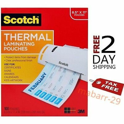 Scotch Thermal Laminating Pouches 8.9 X 11.4- 3 Mil Thick 100-pack Tp3854-100