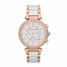 new in box Michael kors parker ladies watch mk5774 rose gold and white new in box