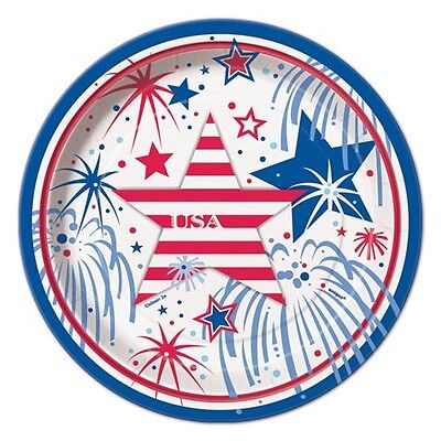 4th OF JULY USA Fireworks SMALL PAPER PLATES (8) ~ Birthday Party Supplies - 4th Of July Paper Products