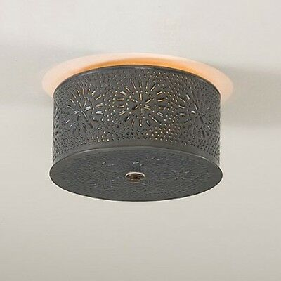 Decorative Punched Tin Round Flush Mount Ceiling Light in Country Tin Chisel