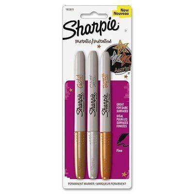 Sharpie Metallic Marker Fine Permanent Pack 3 Gold Silver Bronze