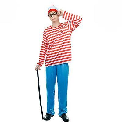 Red & White Stripe Find Him Waldo Fancy Dress - Find Waldo Costume