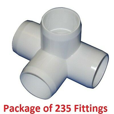 """3/4"""" Furniture Grade 4-Way Side Outlet Tee PVC Fitting - 235 Pack"""