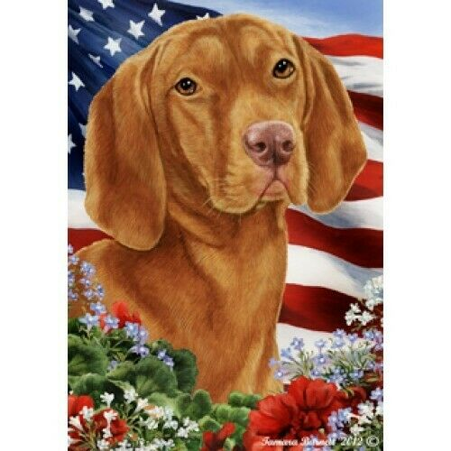 Patriotic (1) House Flag - Vizsla16052