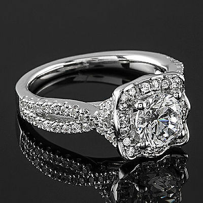 Halo French Pave 1.06 Carat VS2/H Round Cut Diamond Engagement Ring White Gold