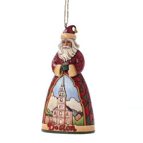 "Jim Shore Heartwood Creek Boston Santa Stone Resin Hanging Ornament, 4.5"""