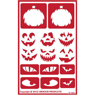 Armour Self Stick Reusable Glass Etching Stencils ONO Halloween Faces