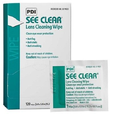 See Clear Eye Glass / Lens Cleaning Wipes, PDI D19831 - 120 Count Box / LOT OF 4
