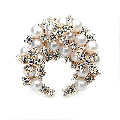 Distinto Oro & Crema Perle Bianche Luna Corona Di Fiori A Forma Di Spilla Sposa
