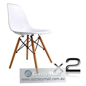 2 pcs ABS Dining Chairs Beech Wood Legs White/Black Melbourne CBD Melbourne City Preview