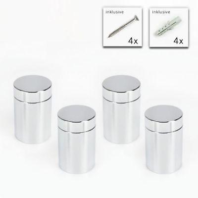 Glas Verchromt, Poliert (Alu Abstandshalter 20x25 mm in poliert verchromt - 4er Set Bild Halter PLEXIGLAS)