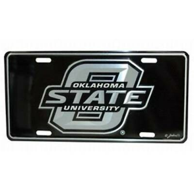 OKLAHOMA STATE COWBOYS ELITE CAR TRUCK TAG LICENSE PLATE METAL SILVER BLACK SIGN