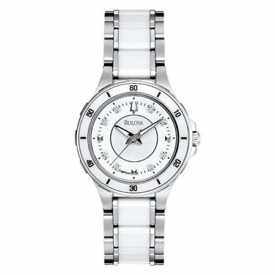 Bulova Women's 98P124 Dress White Diamond Markers Ceramic Stainless Steel Watch