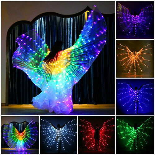 Adult or Child LED Isis Wings + 2 Telescopic Sticks Belly Dance Light Costumes
