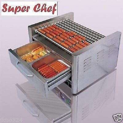 Hot Dog Machine Roller Grill 30 With Bun Warmer 11 Rollers Stainless Steel