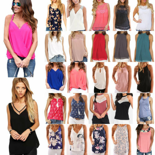 Womens Summer Vest Top Sleeveless Shirt Blouse Ladies Casual