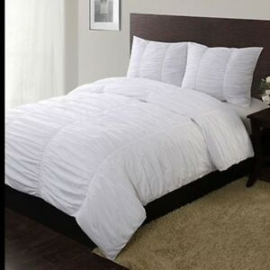 ruched duvet comforter cover white full queen 88 x 90 no shams ebay. Black Bedroom Furniture Sets. Home Design Ideas