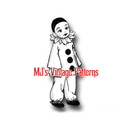 """Pierrot Clown Doll Vintage Stuffed Cloth Toy Pattern ~ 20"""" tall"""