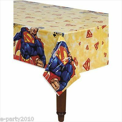 SUPERMAN PLASTIC TABLE COVER ~ Superhero Birthday Party Supplies Decorations DC
