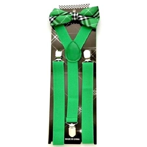 New Green Suspenders With Green Plaid Bow Tie Matching Sets Usa Seller