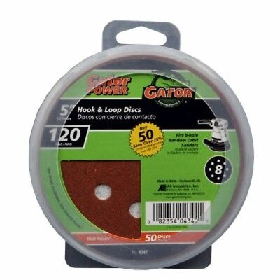 Ali Industries 4342 8 Hole Hook And Loop 120 25 Ct Grit Disc  5 Inch