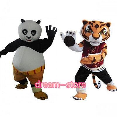 【SALE】 KUNG FU PANDA AND TIGRESS MASCOT COSTUME ADULT SIZE HALLOWEEN DRESS