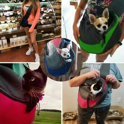 Pet Puppy Dog Mesh Sling Carry Pack Backpack Carrier Travel Tote Shoulder -
