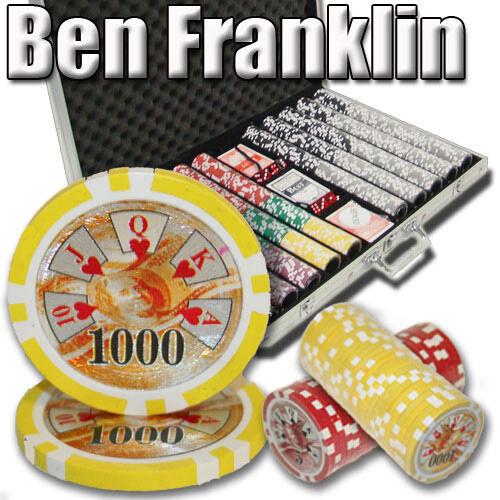 NEW 1000 PC Ben Franklin 14 Gram Clay Poker Chips Aluminum Case Set Pick Chips