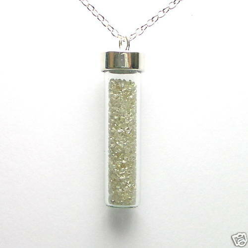 5 Carats Natural White Rough Diamonds Silver Necklace