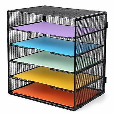 Meshist Letter Tray Organizer Mesh 5 Tier Desk File Paper Organizer Shelf
