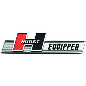 HURST EQUIPPED CHROME EMBLEM FENDER TRUNK BADGE SELF ADHESIVE