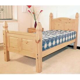 CORONA MEXICAN PINE SINGLE HIGH FOOT END BED