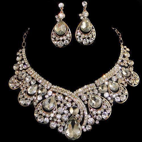 clear rhinestone necklace ebay