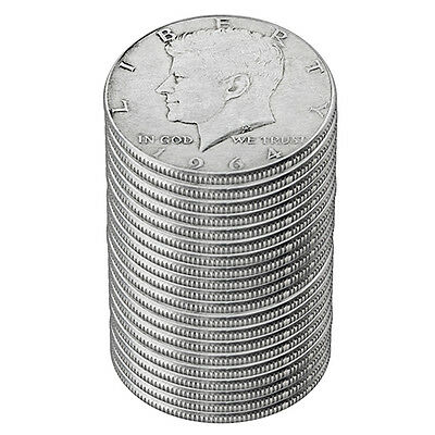 90% Silver 1964 Kennedy Half Dollars - Roll of 20 - $10 Face Value