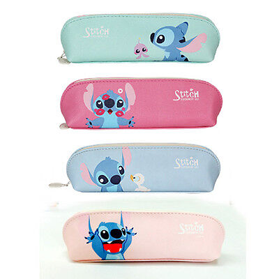 BNWT So Cute Stitch PU Faux Leather Pencil Case Pen Bag Organizer Lilo&Stitch