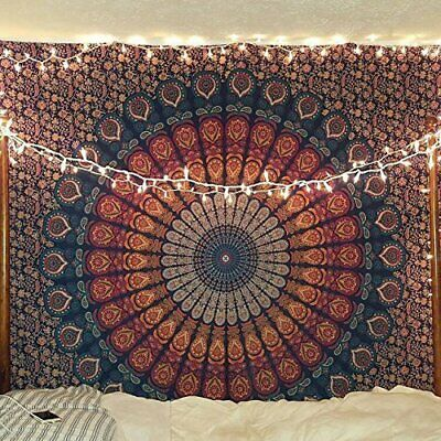 Navy Blue Brown Twin Tapestry Wall Hanging Mandala Indian Cotton Bedspread - Brown Tapestry