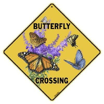 "Butterfly Crossing Metal Sign 16 1/2"" x 16 1/2"" Diamond shape Made in USA #419"