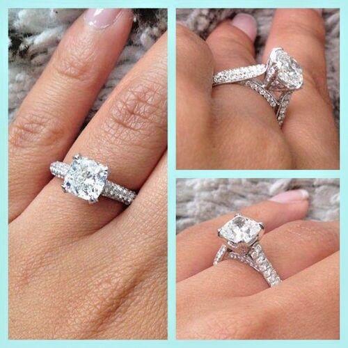 Stunning 1.80 Ct Cushion Cut Diamond MicroPave Engagement Ring D,VVS1 GIA 14K WG