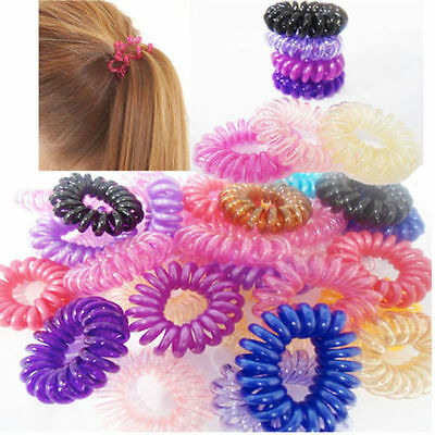 50pcs Spiral Slinky Hair Head Bands Elastics Bobbles Ties Scrunchies Accessories