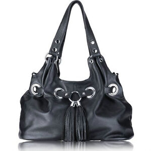 NEW - Designer Inspired Black Leather Handbag