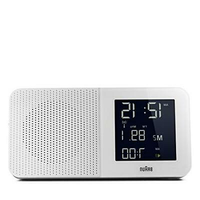 Braun BNC010WH-SRC AM/FM White Digital Quartz Radio Controlled Alarm Clock