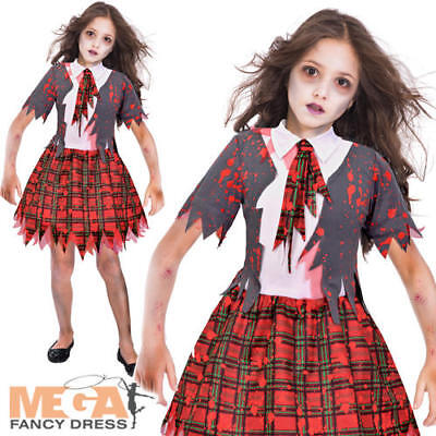 Zombie School Girl Halloween Fancy Dress Girls Kids Childs Costume Party Outfit