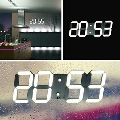 Large 3D LED Digital Alarm Wall Desk Clock Night Light  RC W/ Date Temperature B